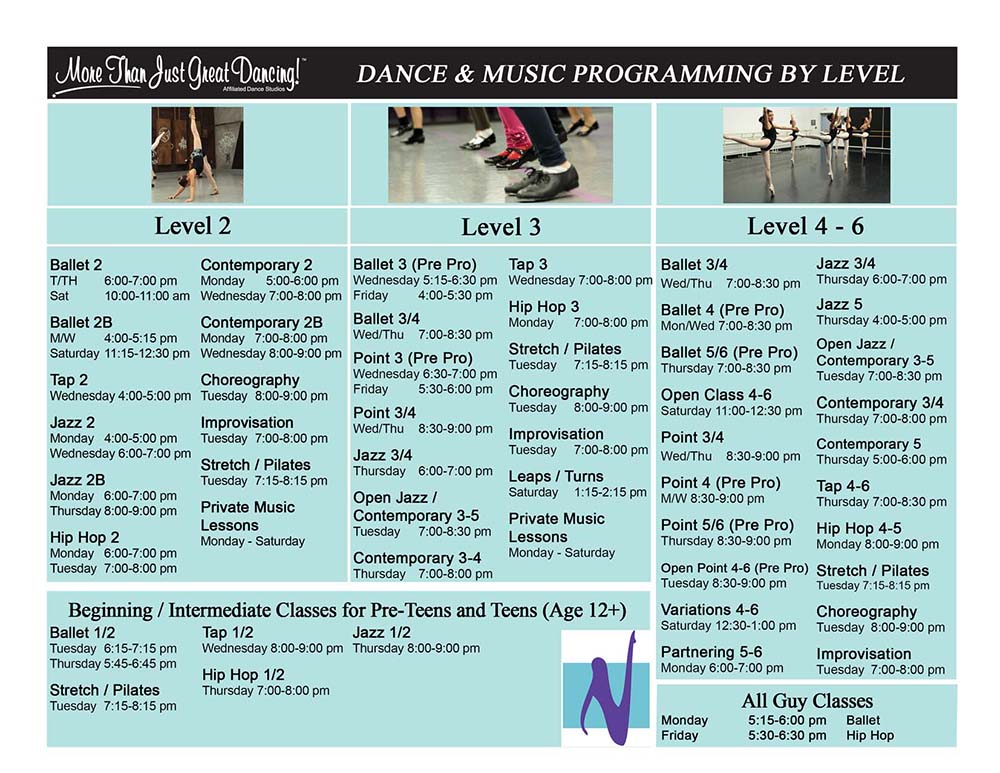 Classes by level schedule