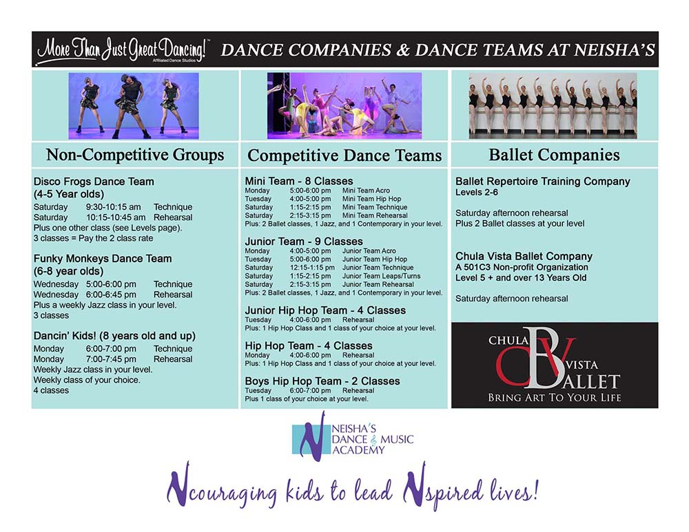 Dance Companies and Dance Team Schedule